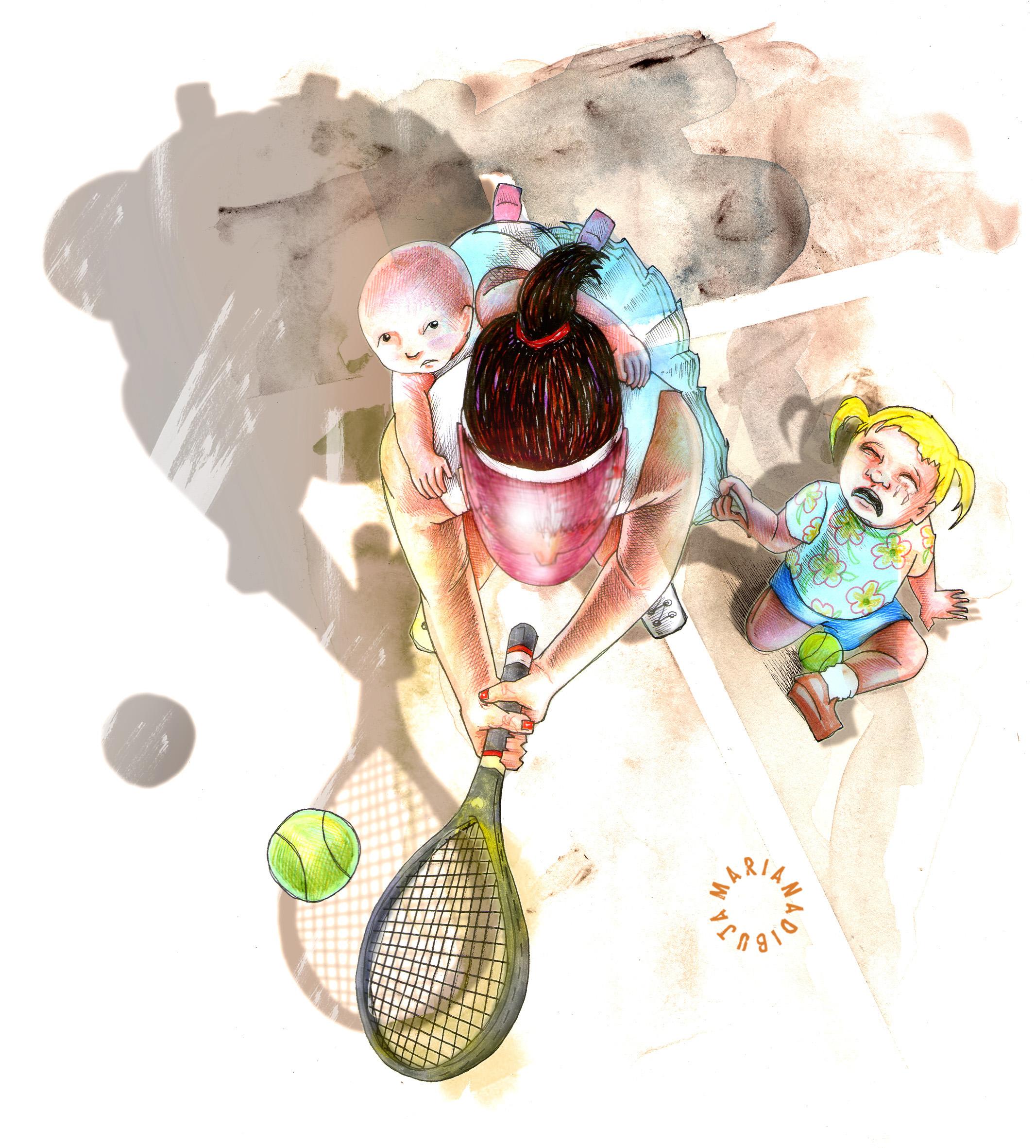 ilustración de Mariana Baizán para Revista Amalgama. Es el dibujo de una tenista siendo madre