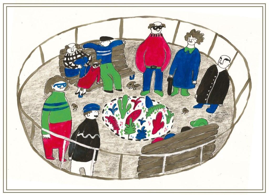 Ilustración del otoño hecha por Laura Rodríguez Levín para Revista Amalgama. Señoras y señores en una plaza rodeadxs de plantas y pajaritos.