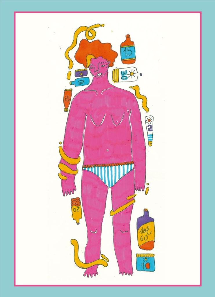 Ilustración hecha por Laura Rodríguez Levín para Revista Amalgama en la que se ve una persona rosa rodeada de protectores solares.